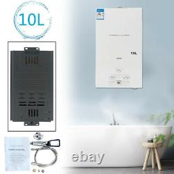 10L Portable Natural Gas Hot Water Heater Tankless NG Boiler with Shower Kit 20KW