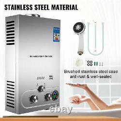 18L Propane Gas LPG Tankless Hot Water Heater Instant Heating Boiler Shower Kit