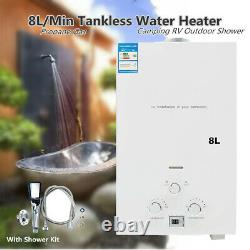 8L Instant Outdoor LPG Water Heater Portable Tankless Propane Gas Water Heater