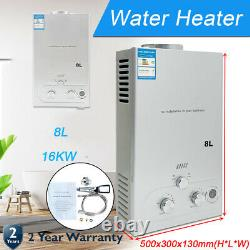 8L Natural Gas Hot Water Heater On-Demand Tankless Instant Indoor Shower kit UK