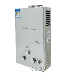 8L Tankless Natural Gas Water Heater with Shower Kit 2.11 GPM Instant Water Heat