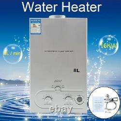 8LNatural Gas Tankless Water Heater Portable Instant Camping withShower Kit