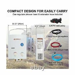 Camplux 5L 1.32 GPM Outdoor Portable Propane Gas Tankless Water Heater New