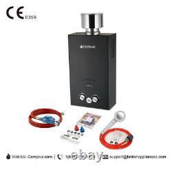 Camplux Gas Hot Water Heater Instant Tankless 10L LPG Boiler Camp Shower Black
