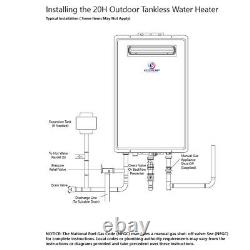 Eccotemp 20H Outdoor 6.0 GPM Natural Gas Tankless Water Heater US Seller