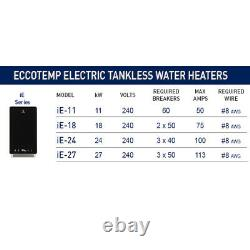 Eccotemp iE-27 Electric Tankless Indoor Water Heater 6 GPM 27 kW 240 Volt