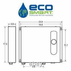 EcoSmart 36KW Electric Tankless Water Heater Self Modulating 6GPM Wall Mountable