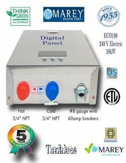 Electric Tankless Water Heater Best Marey ECO180 Refurbished 5 GPM 240V