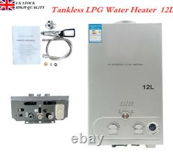 Portable Tankless Hot Water Heater 12L LPG Propane for Camping Shower UK