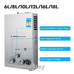 Propane Gas Hot Water Heater 6/8/10/12/16/18L Tankless Instant Boiler LPG 4.3GPM