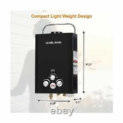 Tankless Water Heater Instant GASLAND Outdoors BE158B 1.58GPM 6L Portable Black